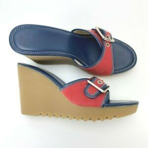Coach terry red blue buckle slip on wedges sz 8.5